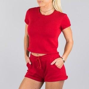 BNIB Alphalete Red Womens Lounge Crop Top xs